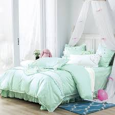 sophisticated elegant mint green applique embroidered fl shabby chic ruffle romantic feminine full queen size bedding sets