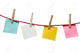 Textured Blank Papers Hanging On Rope With Clothespin Stock Photo - 29690868