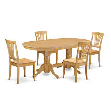 Shop Oak Rubberwood Dining Oval Table With Leaf And 4 Chairs 5