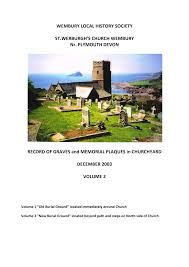 WEMBURY LOCAL HISTORY SOCIETY ST.WERBURGH'S CHURCH WEMBURY Nr. PLYMOUTH  DEVON RECORD OF GRAVES and MEMORIAL PLAQUES in CHURCHY