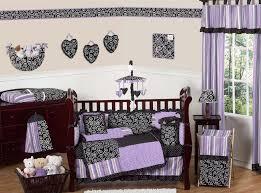 Purple and Black Kaylee Girls Boutique Baby Bedding - 9 pc Crib Set