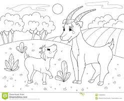 Libro Da Colorare Del Fumetto Dei Bambini Una Famiglia Delle Capre
