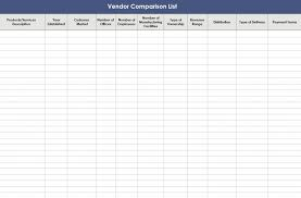 Vendor List Excel Template Vendor Comparison Template Vendor Comparison List
