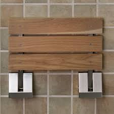 image of fold up teak shower chair