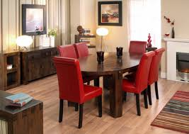 dining room decorating ideas using red leather dining chair including oval solid cherry wood