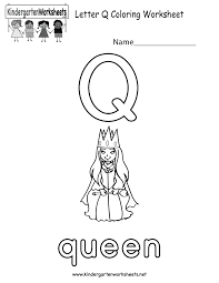 Small Picture Letter Q Coloring Worksheet Free Kindergarten English Worksheet