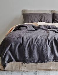 linen duvet cover king charcoal
