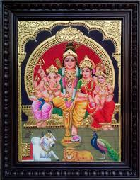 tanjore painting lord shiva family
