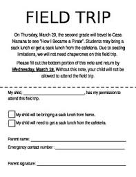 Permission Slip For Field Trips Parents Miss Fultons Place