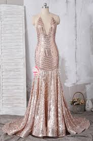 Mermaid Dress Pattern Simple Rose Gold Halter Plunging Long Pattern Sequin Mermaid Prom Dress