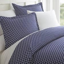 becky cameron quatrefoil patterned performance navy twin 3 piece duvet cover set ieh duv qd tw na the home depot