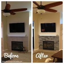 Stone Fireplace Remodel Updating A Fireplace With Airstone Fake Stacked Stone Living