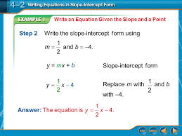 step 2 write the slope intercept form using