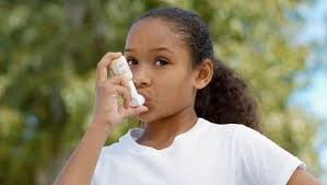 Young girl  with asthma.
