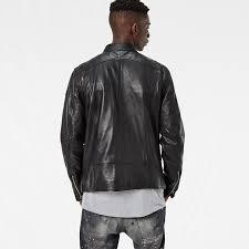 mower slim leather jacket black men g star uk