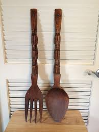 large wooden spoon and fork wall art