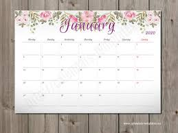 Planner 2020 Template 2020 Monthly Wall And Desk Planner Calendar Agenda Template Pm W2 Pdf Format