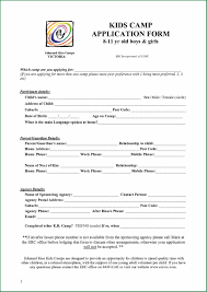 Reunion Activities Family Reunion Camp Application Form Template
