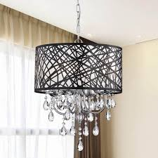 contemporary 4 light crystal chandelier drum shade pendant lamp ceiling lighting