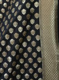 Small Buti Design Banarasee Art Silk Dupatta Small Buti Design Black