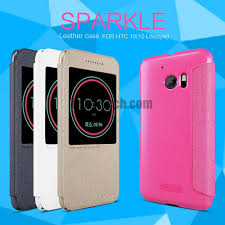 htc 10 case gold. nillkin sparkle series call id window smart sleep leather cover case for htc 10 gold htc