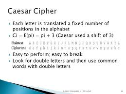 Caesar Cipher Each letter is translated a fixed number of positions in the alphabet Ci = E pi = pi 3 Caesar used a shift of 3