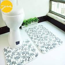 2pcs c velvet soft non slip bath shower mat toilet pedestal floor rug carpet
