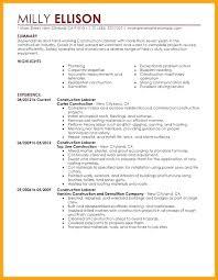 Resume Objective For General Laborer Good Construction Laborer