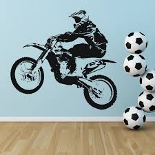 dirt bike jump wall sticker motorbike sports wall decal boys bedroom home decor on motorbike wall art australia with dirt bike jumping wall sticker bike wall art