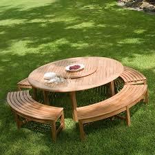 round wood outdoor table.  Wood Garden Niche Or Placed At A Round Table And Round Wood Outdoor Table
