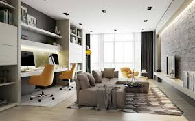 stylish home office space. Home-desinging2. Stylish Home Office Integrates Into The Living Room Space
