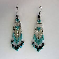 southwest style chandelier earrings in turquoise silver and black with small turquoise chip dangles