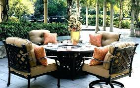 patio dining set with fire pit propane sets chairs large outdoor table