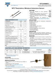 ntc thermistors miniature immersion sensor vishay bcponents manualzz