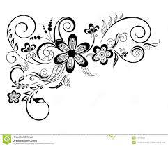 Floral Sketch Designs Floral Design Element With Swirls Stock Illustration