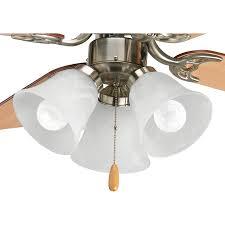 progress lighting fan light kit 3 light brushed nickel led ceiling fan light kit