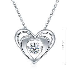 heart dancing stone pendant necklace