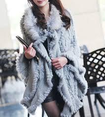 beautiful fur coat rabbit fur cape poncho hoody rac fur trim coat las
