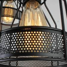 industrial dining room 3 light led multi light pendant with black metal wire mesh
