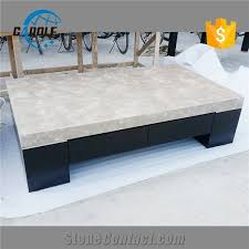 wooden base marble coffee table