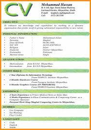 Undergraduate Student Cv Template Example Curriculum Vitae Sampl On