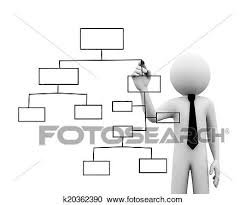 3d Businessman Drawing Organizational Chart On Touch Screen
