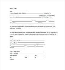 Automobile Bill Of Sale Template Vehicle New Auto Car Doc