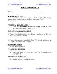 Sample Resume Objectives For Students Tags Resume For Fresher Mechanical Engineering Student