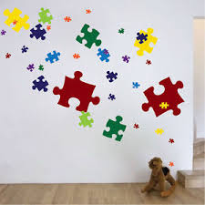 image is loading puzzle pieces wall decal mural vinyl colors jigsaw  on jigsaw puzzle wall art with puzzle pieces wall decal mural vinyl colors jigsaw puzzle removable