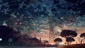Wallpaper : anime, clouds, powerlines ...