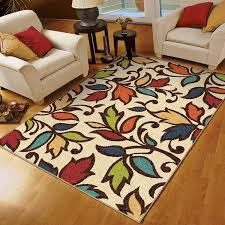 Walmart Rugs For Living Room Orian Rugs Indoor Outdoor Dicarna Cream Leaves Area Rug Walmartcom
