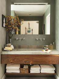 small modern vanity. Modren Small A Concrete Countertop And Stainlesssteel Backsplash Provide A Contemporary  Feel To This Small Space To Small Modern Vanity L