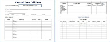 call sheet template excel cast and crew call sheet template word excel templates