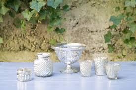 silver mercury glass compote seascape flowers